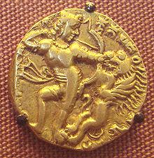 Kumaragupta fighting a lion