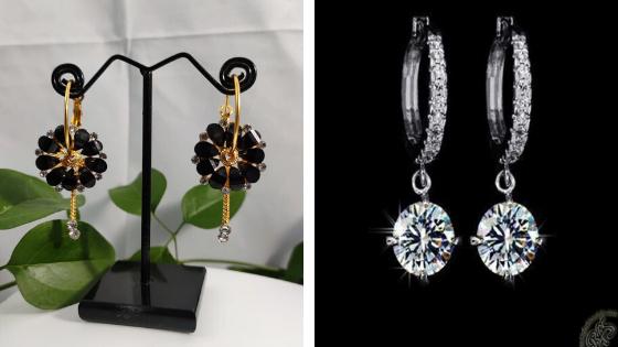 Black floral delight hoop earrings: