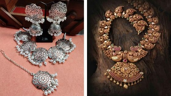 Vintage silver necklace set: