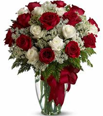 Small white roses and red bouquet